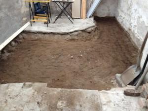 urgrävt golv